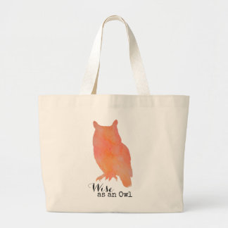Wise as an Owl Typographical Watercolor Large Tote Bag