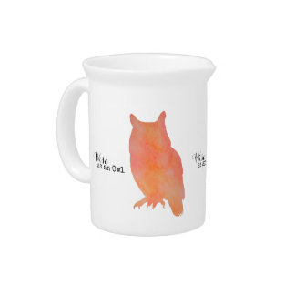 Wise as an Owl Woodland Watercolor Drink Pitcher