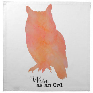 Wise as an Owl Woodland Watercolor Napkin
