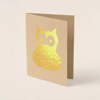 Wise Brown Owl Bird Hoot Animal Gift Foil Card