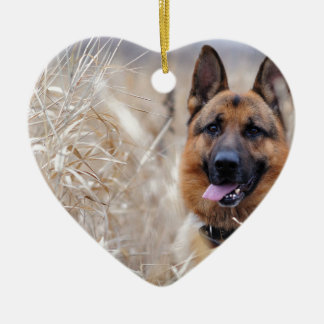 Wise German Shepherd Puppy Ceramic Ornament