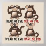 Wise Monkeys Humour Print