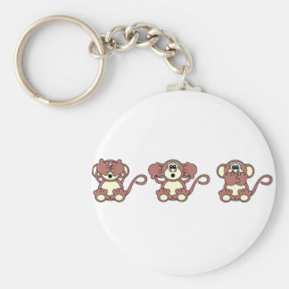 wise monkeys key ring