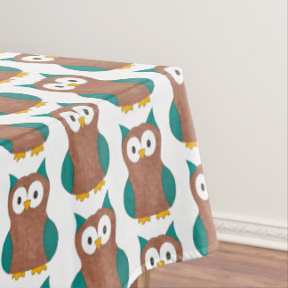 Wise Old Brown Owl Hoot Bird Animal Print Tablecloth