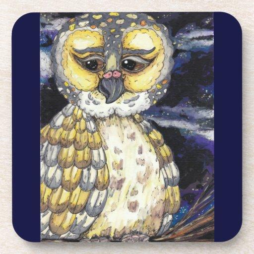 Wise Old Owls Cork Coaster set