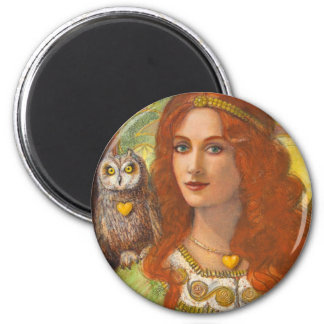 Wise Ones- Celtic Owl and Lady 6 Cm Round Magnet