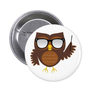 Wise Owl 6 Cm Round Badge