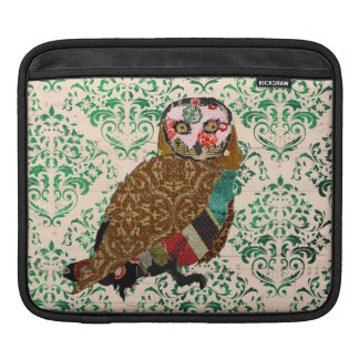 Wise Owl Green Damask  iPad Sleeve