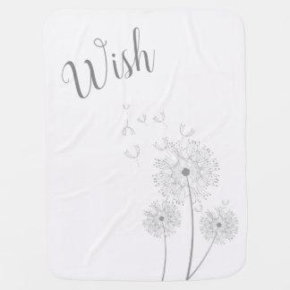 Wish Baby Blanket Blowing Dandelions White Gray