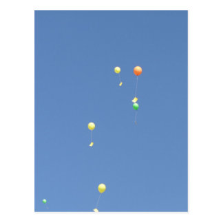 Wish balloons in the blue sky postcard