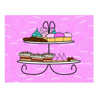 wish card - party Girls - high Tea - cup cakes Postcard