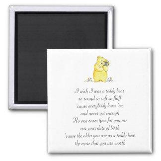 Wish I Was A Teddy Bear Poem Magnet