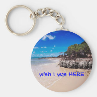wish I was HERE Basic Round Button Key Ring