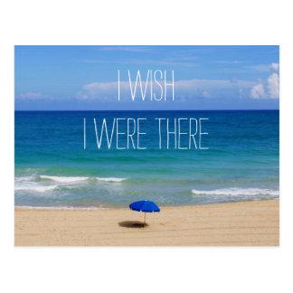 Wish I Were There - Blue Beach Umbrella Postcard