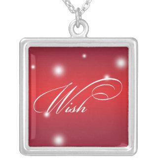 WISH sentiment elegant script red glow keepsake Pendant