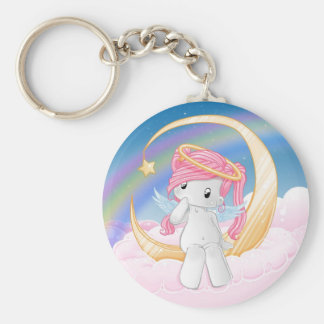 Wish upon a star basic round button key ring