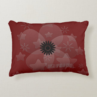 Wish Upon a Star Flower Red Black Accent Pillow
