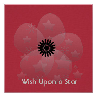 Wish Upon a Star Glossy Silver Flower Red Perfect Poster