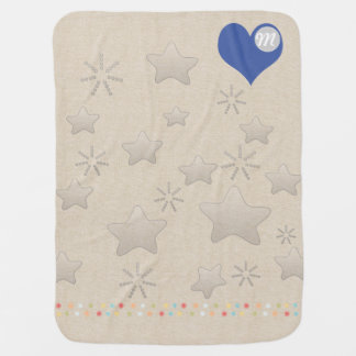 Wish Upon a Star Pattern Silver Monogram Linnen Swaddle Blankets