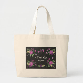 Wish You All The Best - Purple Flower Print Large Tote Bag