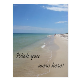 Wish you were here beach scene postcard
