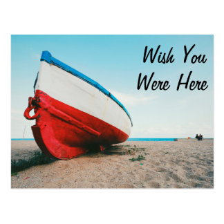 Wish You Were Here Beach Vacation Boat Postcard