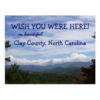 Wish you were here! Clay County, North Carolina Postcard