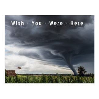 Wish you were here tornado holiday postcard