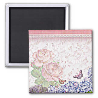 Wishes and Dreams Shabby Flowers Butterflies Pink Square Magnet