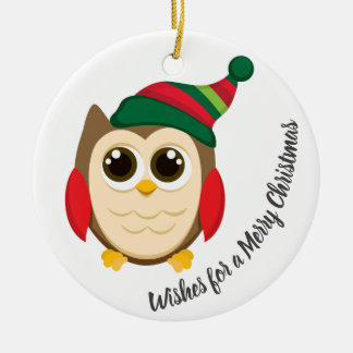 Wishes for a Merry Christmas - Ornament with Owl