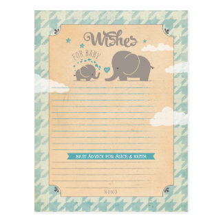 Wishes for Baby Boy - Elephant Advice Cards Postcard
