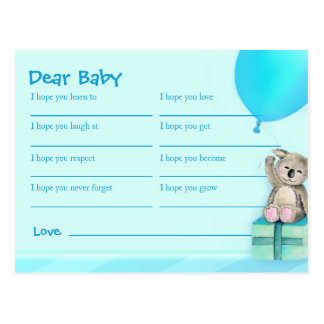 Wishes for baby boy - koala baby shower postcard