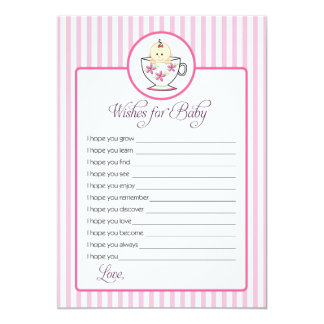 Wishes for Baby Card - Baby In Tea Cup Design 13 Cm X 18 Cm Invitation Card