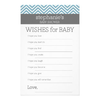 Wishes for Baby - Pastel Blue Chevrons Shower Game Stationery Design
