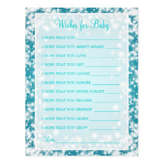 Wishes For Baby Shower Winter Sparkle Turquoise Postcard