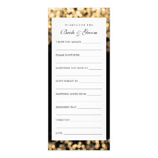 Wishes For Bride And Groom Gold Lights 10 Cm X 24 Cm Invitation Card