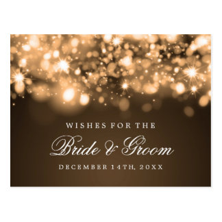 Wishes For Bride And Groom Gold Sparkling Lights Postcard