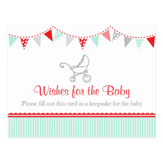 Wishes for the baby - baby shower postcard