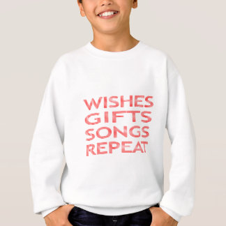 Wishes gifts songs repeat - strips - red. sweatshirt