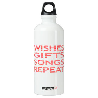 Wishes gifts songs repeat - strips - red. water bottle