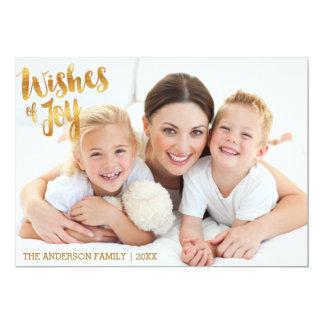 Wishes of Joy gold Christmas Card 13 Cm X 18 Cm Invitation Card