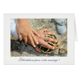 Wishes of marriage alliances sea beach sands card