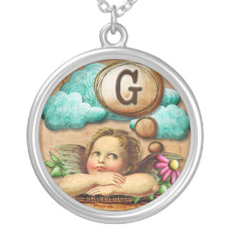 wishful thinking angel cherub initial letter G Silver Plated Necklace