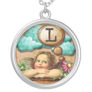 wishful thinking angel cherub initial letter L Silver Plated Necklace