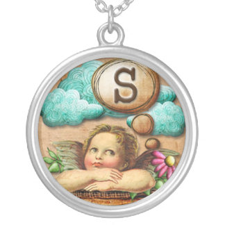 wishful thinking angel cherub initial letter S Silver Plated Necklace