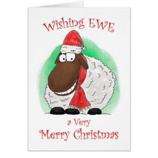 Wishing Ewe Sheep Merry Christmas Card