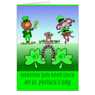 Wishing Good Luck Leprechauns Greeting Card