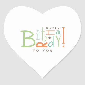 Wishing Happy Birthday! Heart Sticker