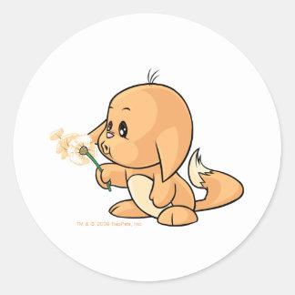Wishing orange Kacheek Round Sticker