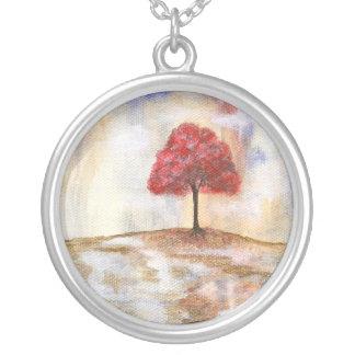 Wishing Tree Round Pendant Necklace Painting